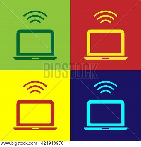 Pop Art Wireless Laptop Icon Isolated On Color Background. Internet Of Things Concept With Wireless
