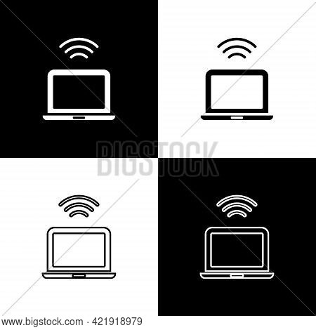 Set Wireless Laptop Icon Isolated On Black And White Background. Internet Of Things Concept With Wir