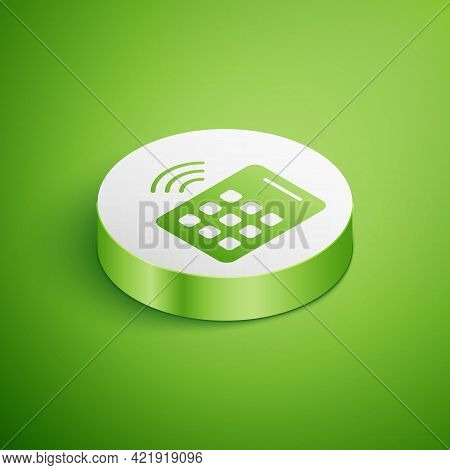 Isometric Wireless Tablet Icon Isolated On Green Background. Internet Of Things Concept With Wireles