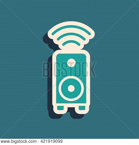 Green Smart Stereo Speaker System Icon Isolated On Green Background. Sound System Speakers. Internet