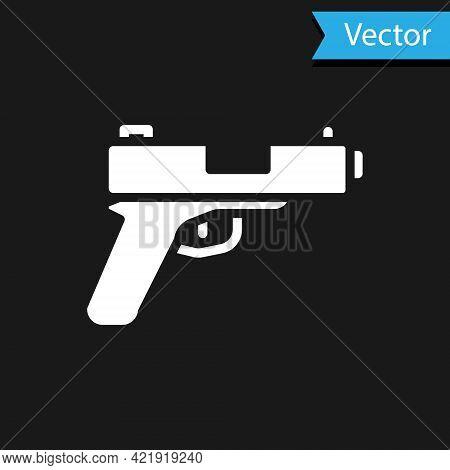 White Pistol Or Gun Icon Isolated On Black Background. Police Or Military Handgun. Small Firearm. Ve