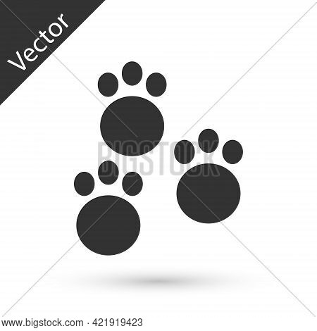 Grey Paw Print Icon Isolated On White Background. Dog Or Cat Paw Print. Animal Track. Vector