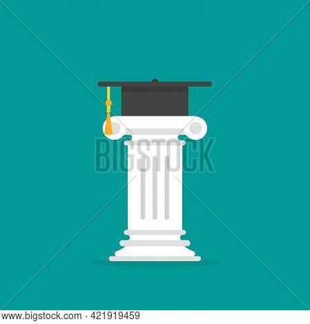 Greek Column With Mortar Board. Antique Pillar And Graduation Toga Cap. Law Symbol, Jurispudence, Un