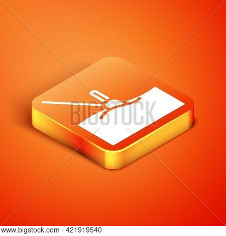 Isometric Fishing Float In Water Icon Isolated On Orange Background. Fishing Tackle. Vector