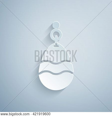 Paper Cut Fishing Spoon Icon Isolated On Grey Background. Fishing Baits In Shape Of Fish. Fishing Ta