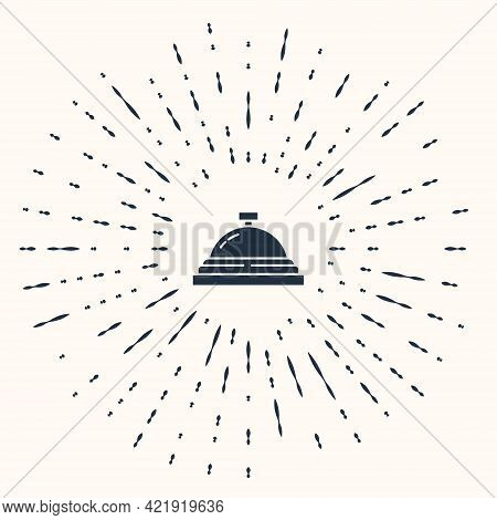 Grey Hotel Service Bell Icon Isolated On Beige Background. Reception Bell. Abstract Circle Random Do