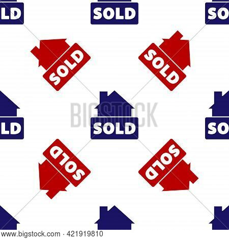 Blue And Red Hanging Sign With Text Sold Icon Isolated Seamless Pattern On White Background. Sold St