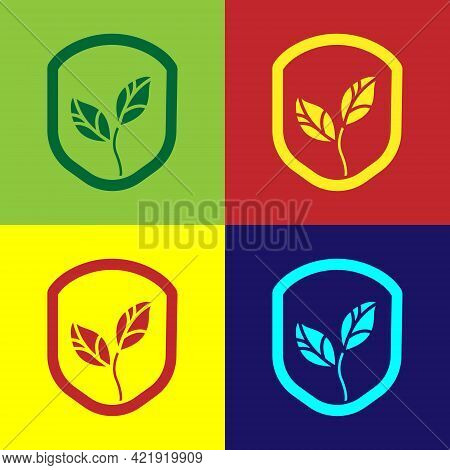 Pop Art Shield With Leaf Icon Isolated On Color Background. Eco-friendly Security Shield With Leaf.
