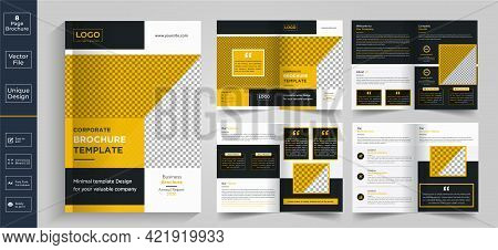 Minimal  Clean Geometric Design Of 8-page Yellow Color Template For Brochure, Flyer, Magazine, Catal