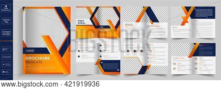 Minimal Clean Geometric Design Of 12-page Gradient Color Template For Brochure, Flyer, Magazine, Cat