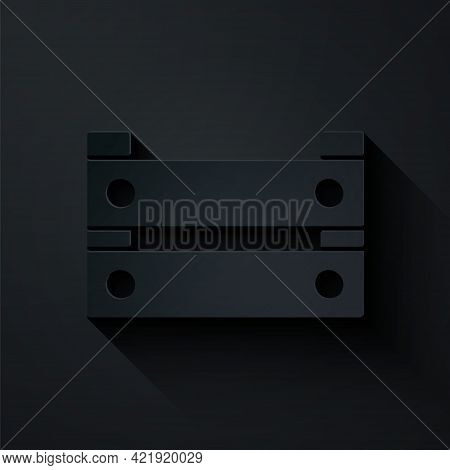 Paper Cut Wooden Box Icon Isolated On Black Background. Grocery Basket, Storehouse Crate. Empty Wood
