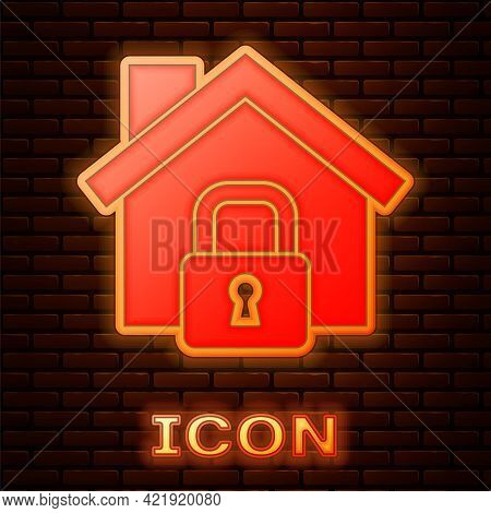 Glowing Neon House Under Protection Icon Isolated On Brick Wall Background. Home And Lock. Protectio