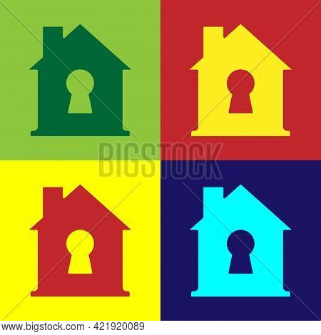 Pop Art House Under Protection Icon Isolated On Color Background. Home And Shield. Protection, Safet