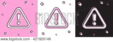 Set Exclamation Mark In Triangle Icon Isolated On Pink And White, Black Background. Hazard Warning S