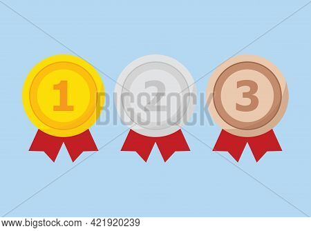 Set Of Gold, Silver And Bronze Medal Icons. First, Second And Third Place Or Award Medals Icon. Meda