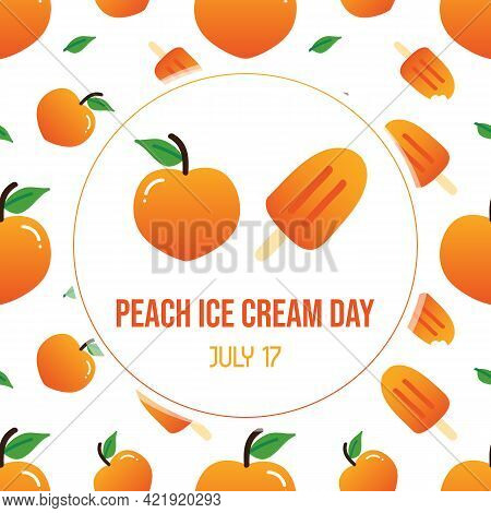 Peach Ice Cream Day Greeting Card With Cute Cartoon Style Peach And  Ice Cream Seamless Pattern Back