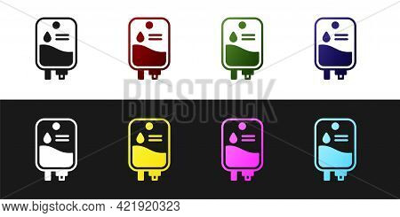 Set Iv Bag Icon Isolated On Black And White Background. Blood Bag. Donate Blood Concept. The Concept