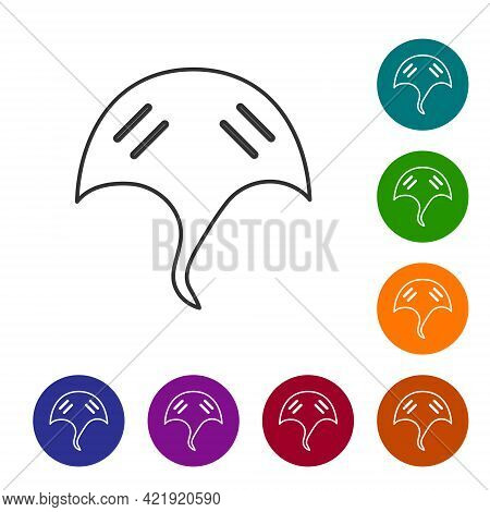 Black Line Stingray Icon Isolated On White Background. Set Icons In Color Circle Buttons. Vector.