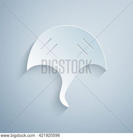 Paper Cut Stingray Icon Isolated On Grey Background. Paper Art Style. Vector.