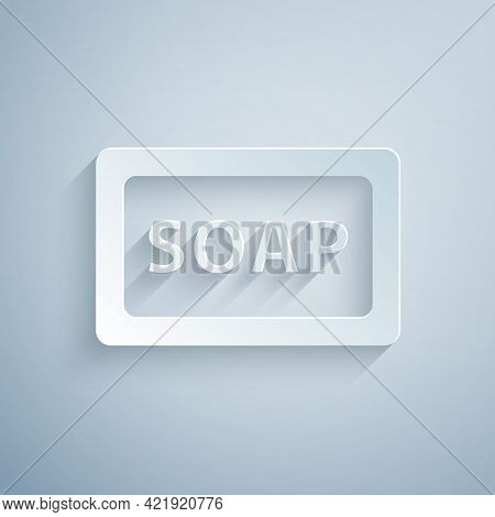 Paper Cut Bar Of Soap Icon Isolated On Grey Background. Soap Bar With Bubbles. Paper Art Style. Vect