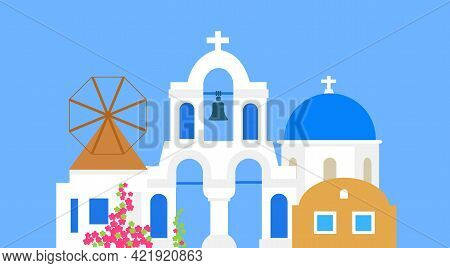 Santorini. Greece. Buildings Of Architecture. Traditional Greek White Houses With Blue Roofs. Vector