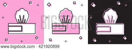 Set Wet Wipe Pack Icon Isolated On Pink And White, Black Background. Vector.