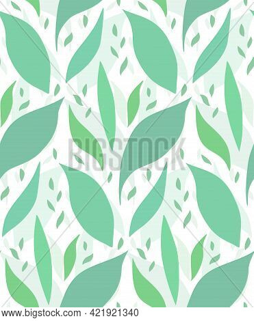 Seamless Pattern With Silhouettes Of Petals. Texture With Green Leaves On White Background. Simple V