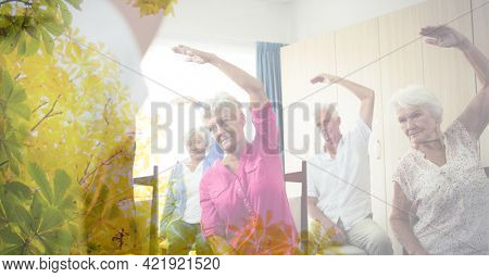 Composition of senior man and women exercising in fitness class with tree overlay. retirement, fitness and active lifestyle concept digitally generated image.