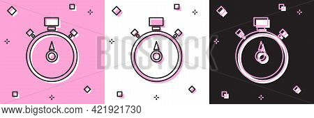 Set Stopwatch Icon Isolated On Pink And White, Black Background. Time Timer Sign. Chronometer Sign.