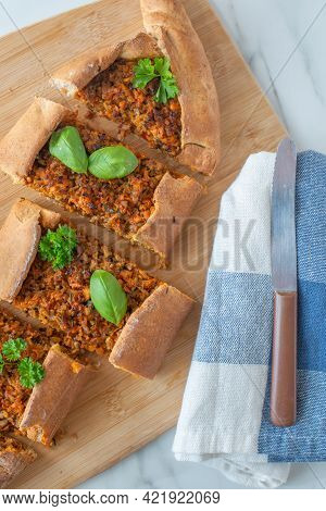 Traditional Turkish Flatbreads Known As Kasarli Sucuklu Pide