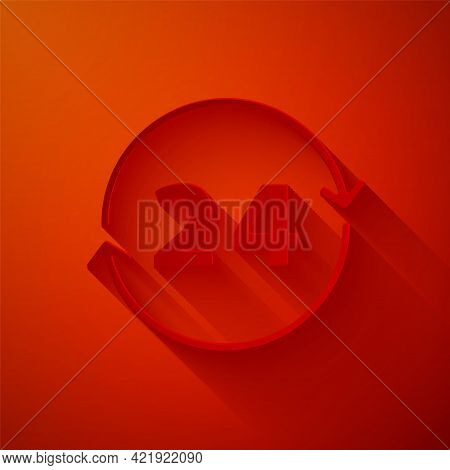 Paper Cut Clock 24 Hours Icon Isolated On Red Background. All Day Cyclic Icon. 24 Hours Service Symb