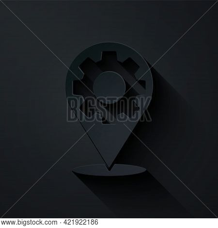 Paper Cut Car Service Icon Isolated On Black Background. Auto Mechanic Service. Repair Service Auto