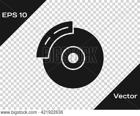 Black Car Brake Disk With Caliper Icon Isolated On Transparent Background. Vector