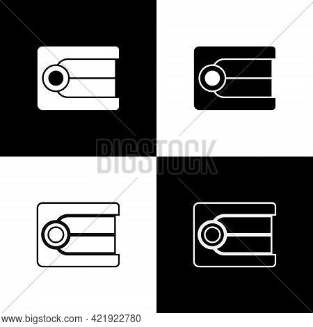 Set Dentures Model Icon Isolated On Black And White Background. Dental Concept. Vector