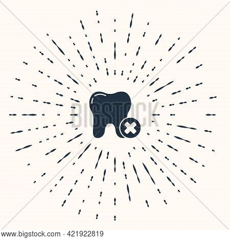 Grey Tooth With Caries Icon Isolated On Beige Background. Tooth Decay. Abstract Circle Random Dots.