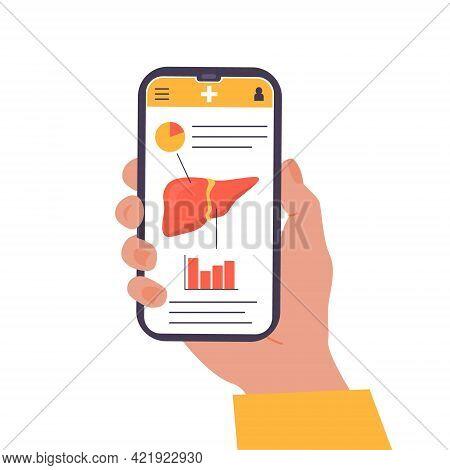 Concept Of Mobile App On Screen Explaining Liver Human Organ. Online Liver Check Up Examination. Med