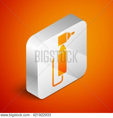 Isometric Tooth Drill Icon Isolated On Orange Background. Dental Handpiece For Drilling And Grinding