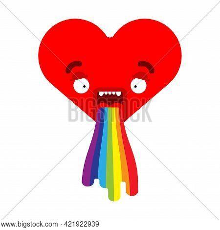 Love Vomit Rainbow Isolated. Heart Retching Cartoon Vector Illustration