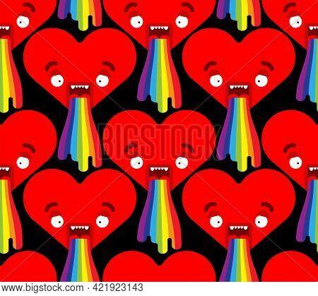 Love Vomit Rainbow Pattern Seamless. Heart Retching Cartoon Vector Background