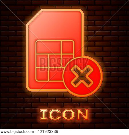 Glowing Neon Sim Card Rejected Icon Isolated On Brick Wall Background. Mobile Cellular Phone Sim Car