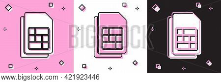 Set Sim Card Icon Isolated On Pink And White, Black Background. Mobile Cellular Phone Sim Card Chip.
