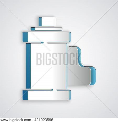 Paper Cut Camera Vintage Film Roll Cartridge Icon Isolated On Grey Background. 35mm Film Canister. F