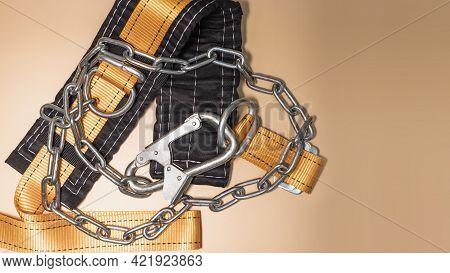 Safety Belt For Work At Height With Carabiner. Professional Safety Equipment For Mountaineering And