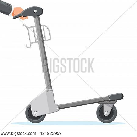 Empty Hand Truck Isolated On White Background. Metal Airport Luggage Trolley Icon. Arrival Hand Cart