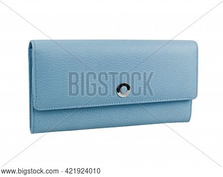 New Light Blue Wallet Of Genuine Cattle Leather. Isolated On White Background. Close-up Shot