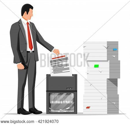 Man Office Worker Shredding Documents. Shredder Machine And Businesswoman With Confidential Paper. O