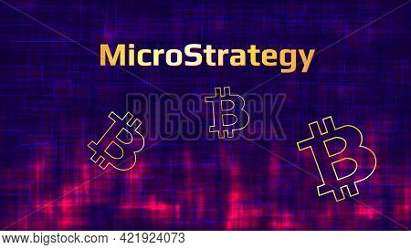 Banner Microstrategy Incorporated On Dark Abstract Background With Bitcoin Symbols And Red Glow. Com