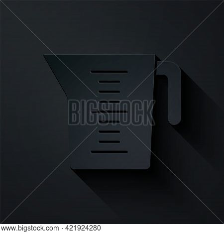Paper Cut Measuring Cup To Measure Dry And Liquid Food Icon Isolated On Black Background. Plastic Gr