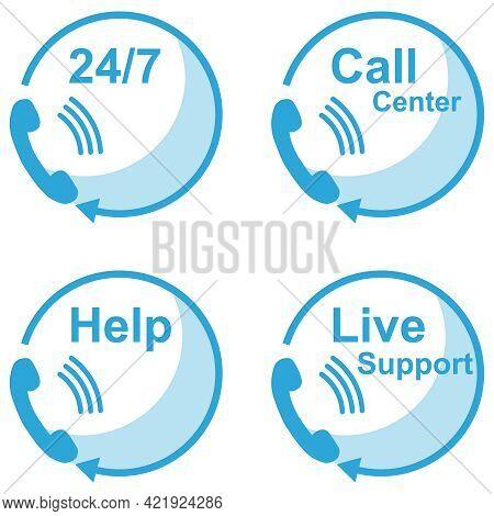 Call Center, Customer Support Service Icons Set. Vector Cartoon Illustration. Vector.