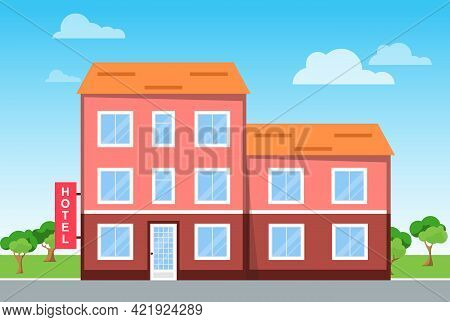 Hotel, Hotel Along The Road Against The Background Of The Natural Landscape. Vector Cartoon Illustra